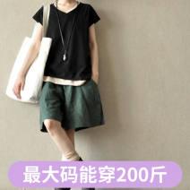 Casual pants Dark green shorts, royal blue shorts, black shorts, 0889 green stitched white The average size is about 105 kg, XL120 kg and xxl145 kg Summer 2020 Pant loose  Natural waist Versatile FQHW7npeGaJJJ Xiao Meng hemp hemp
