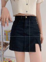 skirt Summer 2020 S,M,L Black, light blue, dark blue Short skirt commute High waist A-line skirt 18-24 years old Y 81% (inclusive) - 90% (inclusive) Korean version