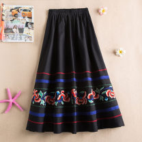 skirt Summer 2020 Average size Black, red, dark blue Mid length dress commute Natural waist Type A hemp Embroidery Retro