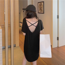 Dress Summer 2020 Black grey M L XL Mid length dress singleton  Short sleeve commute Crew neck Loose waist Solid color One pace skirt routine 18-24 years old Type A Guan Dai Korean version backless kajj4 More than 95% cotton Cotton 100%