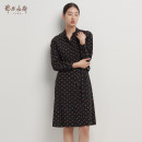 Dress Autumn 2020 Black + Camel 155/76A/XS 155/80A/S 160/84A/M 165/88A/L 170/92A/XL 175/96A/XXL longuette singleton  three quarter sleeve commute stand collar middle-waisted other other A-line skirt shirt sleeve Others 25-29 years old Type A Ordos, 1980 lady C206I2011 other silk