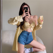 shirt Yellow sling, white sling, yellow shirt, white shirt Average size Spring 2021 other 31% (inclusive) - 50% (inclusive) Long sleeves commute Medium length Polo collar Single row multi button shirt sleeve Solid color 18-24 years old Straight cylinder Other / other Retro 0402+