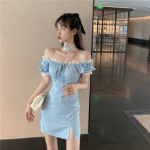 Dress Spring 2021 Lace collar, ice blue skirt S, M Short skirt singleton  Short sleeve commute square neck High waist Solid color Socket A-line skirt puff sleeve Others 18-24 years old Other / other Retro Lace 0216+