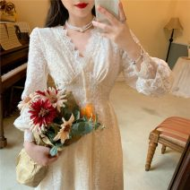 Dress Autumn 2020 Apricot lace dress S,M,L Mid length dress singleton  Long sleeves commute V-neck High waist Solid color Socket A-line skirt bishop sleeve Others 18-24 years old Other / other Retro Lace 0916+