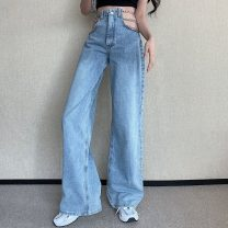 Jeans Spring 2021 blue S,M,L trousers High waist Straight pants routine 18-24 years old zipper light colour Other / other