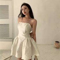 Dress Summer 2021 White, black S, M Short skirt singleton  Sleeveless commute One word collar High waist Solid color Socket A-line skirt other Breast wrapping 18-24 years old Other / other Retro 0408+