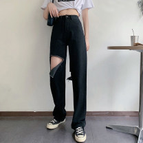 Jeans Summer 2020 black S,M,L trousers High waist Straight pants routine 18-24 years old Dark color five hundred and nineteen Other / other
