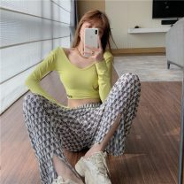 Casual pants Average size Spring 2021 trousers Wide leg pants High waist commute routine 18-24 years old 81% (inclusive) - 90% (inclusive) 0307+ Other / other Retro cotton