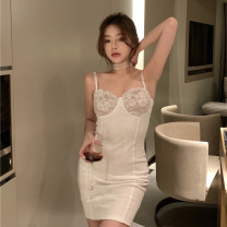 Dress Summer 2021 White, black Average size Short skirt singleton  Sleeveless commute One word collar High waist Solid color Socket A-line skirt other camisole 18-24 years old Type A Other / other Retro Lace 0413+