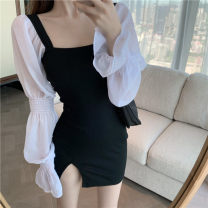 Dress Autumn 2020 Dress Average size Short skirt singleton  Long sleeves commute square neck High waist Solid color Socket One pace skirt puff sleeve 18-24 years old Type A Other / other Retro Splicing 0910M 51% (inclusive) - 70% (inclusive) other