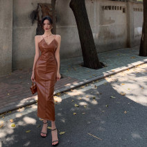 Dress Spring 2021 Brown S,M,L Mid length dress singleton  Sleeveless commute V-neck High waist Solid color Socket One pace skirt other camisole 18-24 years old Type A Other / other Retro 0310+