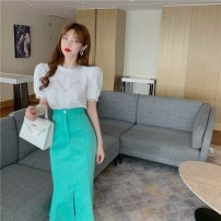 Lace / Chiffon Spring 2021 White top, blue top, white skirt, green skirt S. M, average size Short sleeve commute Socket Two piece set Self cultivation Regular Crew neck Solid color puff sleeve 18-24 years old Other / other 0328+ Lace Retro