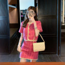 Fashion suit Summer 2020 S,M,L Plum powder jacket, plum powder skirt 18-25 years old Other / other