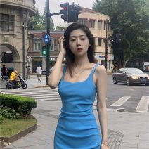 Dress Spring 2021 Blue, black, sunset orange S,M,L Mid length dress singleton  Sleeveless commute square neck High waist Solid color Socket One pace skirt routine camisole 18-24 years old Type H Other / other Retro backless 0220+ 31% (inclusive) - 50% (inclusive) polyester fiber