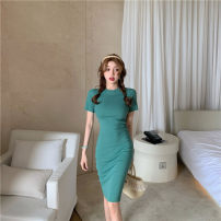 Dress Spring 2021 Apricot, purple, red, blue, lake green Average size Mid length dress singleton  Short sleeve commute Crew neck High waist Solid color Socket One pace skirt routine Others 18-24 years old Other / other Retro 0228+ cotton