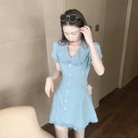 Dress Spring 2021 blue S, M Short skirt singleton  Long sleeves commute Doll Collar High waist Solid color Socket A-line skirt bishop sleeve Others 18-24 years old Other / other Retro Button 0228+