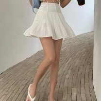 skirt Spring 2021 S,M,L Apricot, white, black Short skirt commute High waist Pleated skirt Solid color Type A 18-24 years old 0331+ 71% (inclusive) - 80% (inclusive) other Other / other polyester fiber fold Retro