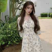 Dress Summer 2021 Suspender skirt, long sleeve skirt, cardigan S. M, l, average size Mid length dress singleton  Long sleeves commute V-neck High waist Broken flowers Socket A-line skirt pagoda sleeve Others 18-24 years old Other / other Retro fungus 0404+