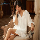 Nightdress Other / other Simplicity Long sleeves Short skirt Leisure home summer Solid color youth Small lapel viscose  More than 95% Modal fabric One size fits all white