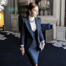 Dress Autumn of 2019 One dark blue blazer, one dark blue vest skirt, one white blazer, one white vest skirt, two dark blue suits, two white suits and two black suits S,M,L,XL Middle-skirt Two piece set Long sleeves commute Polo collar High waist stripe A button One pace skirt routine Others Type X