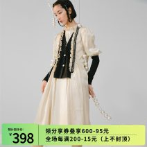 Dress Winter 2020 cream-colored S, M longuette singleton  Long sleeves commute V-neck High waist Solid color Single breasted A-line skirt routine 18-24 years old Type A Button K5675 polyester fiber