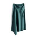 skirt Summer 2021 S,M,L,XL,2XL,3XL Green, blue, black, champagne, gold, pink Mid length dress Versatile High waist Irregular Solid color Type A Cellulose acetate Asymmetry