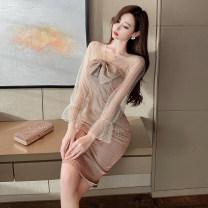 Dress Spring 2021 khaki S,M,L Miniskirt singleton  Long sleeves commute V-neck High waist Solid color zipper One pace skirt raglan sleeve 18-24 years old Splicing polyester fiber
