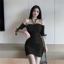 Dress Summer 2021 Khaki, black S, M Short skirt singleton  elbow sleeve Sweet One word collar Loose waist Solid color Socket Hanging neck style 949# 81% (inclusive) - 90% (inclusive) brocade cotton