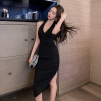 Dress Summer 2021 black S,M,L Miniskirt singleton  Sleeveless commute V-neck High waist Solid color zipper Irregular skirt Hanging neck style 18-24 years old Type X Retro 1246#