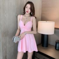 Dress Summer 2021 Pink, black S,M,L,XL Short skirt singleton  Sleeveless Sweet V-neck High waist Solid color zipper Princess Dress camisole 18-24 years old Type A 1236# princess