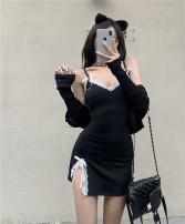 Dress Summer 2021 black Average size Short skirt singleton  Sleeveless V-neck High waist Socket A-line skirt camisole Type A 7591# knitting nylon