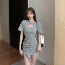 Dress Summer 2021 Gray, black Average size 6096#