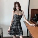 Dress Summer 2021 Red, black S,M,L,XL Short skirt singleton  Sleeveless commute V-neck High waist lattice Socket Pleated skirt other camisole 18-24 years old Type A Korean version 81% (inclusive) - 90% (inclusive) other polyester fiber