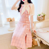 Dress Summer 2020 Pink S,M,L Miniskirt singleton  Short sleeve commute Crew neck High waist lattice zipper other routine Others 18-24 years old Type A Retro bow 31% (inclusive) - 50% (inclusive) Chiffon