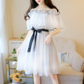 Dress Summer 2020 White, pink S,M,L Middle-skirt singleton  Short sleeve Sweet One word collar High waist Solid color Socket Big swing Lotus leaf sleeve camisole 18-24 years old Type H Other / other Lotus leaf edge 81% (inclusive) - 90% (inclusive) Chiffon princess