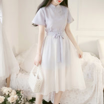 Dress Summer 2020 Picture color two piece set S,M,L Miniskirt Two piece set Short sleeve commute other High waist Solid color other A-line skirt pagoda sleeve Others 18-24 years old Type A Other / other Retro 71% (inclusive) - 80% (inclusive) other other