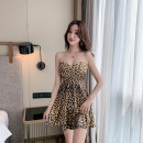 Dress Summer 2021 Black, leopard print S,M,L,XL Short skirt Sleeveless commute V-neck High waist Solid color Socket Big swing Breast wrapping 18-24 years old Type A Korean version 30% and below brocade cotton
