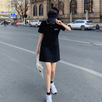 Dress Summer 2021 Black Polo neck dress (original) S,M,L Short skirt singleton  Short sleeve commute Polo collar High waist letter Socket A-line skirt routine Others 25-29 years old Type A Tiger teeth and dog teeth HY77127 More than 95% other polyester fiber