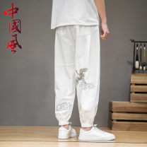 Casual pants Grass ink Youth fashion M L XL 2XL 3XL 4XL 5XL routine Ninth pants Other leisure easy No bullet Four seasons youth Chinese style 2021 middle-waisted Other 100% washing Solid color cotton Spring 2021 Pure e-commerce (online only)