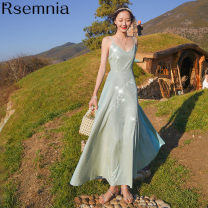 Dress Spring 2021 Galaxy blue, Galaxy pink, pay attention to the shop to get 20 yuan discount volume, collect and buy 50 yuan discount volume S,M,L longuette singleton  Sleeveless commute V-neck High waist Solid color Socket A-line skirt routine camisole 18-24 years old Type A Rsemnia backless