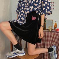 skirt Summer 2020 Average size Black, pink, green, blue Short skirt street High waist A-line skirt Type A 18-24 years old