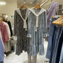 Dress Spring 2021 Black, blue, yellow Average size longuette singleton  Long sleeves commute Crew neck High waist Broken flowers Socket A-line skirt routine 18-24 years old Type A printing 51% (inclusive) - 70% (inclusive) Chiffon cotton