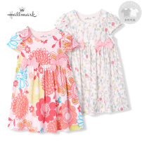 Dress The branches are printed on a white background and the flowers are printed on a white background female Hallmark 66 / 3-6 months 73 / 6-12 months 80 / 1-1.5-90 / 1.5-2 years 100 / 2-3 years 110cm4-5 years Cotton 100% summer princess Short sleeve Broken flowers Pure cotton (100% cotton content)