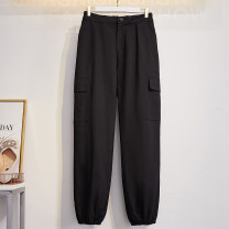 Women's large Autumn of 2019 black Suggestion: 2XL 160 ~ 185 kg, 3XL 185 ~ 205 kg, 4XL 205 ~ 230 kg, 5XL 230 ~ 300 kg, 6xl trousers commute easy moderate Solid color Korean version cotton Three dimensional cutting Transfortegy / transformation strategy 25-29 years old pocket Cotton 100% trousers