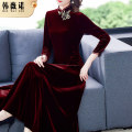 Dress Autumn 2020 claret M L XL 2XL 3XL 4XL 5XL Mid length dress singleton  three quarter sleeve commute stand collar middle-waisted Solid color zipper A-line skirt routine Others 30-34 years old Type A Han Weinuo Retro zipper NRJ-20100136 More than 95% other Other 100% Pure e-commerce (online only)