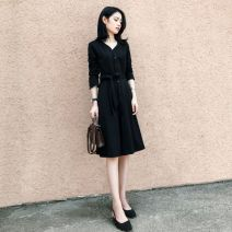Dress Autumn of 2019 black S,M,L,XL,2XL Mid length dress singleton  Long sleeves commute V-neck middle-waisted Solid color routine 18-24 years old Type A Love of Shu Mei Korean version More than 95% other
