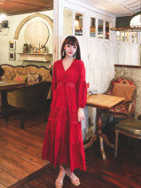 Dress Autumn 2020 White, red S,M,L,XL longuette singleton  Long sleeves Sweet V-neck High waist Solid color Single breasted Big swing bishop sleeve Others 25-29 years old Type A Hollowed out, Gouhua hollowed out, button 71% (inclusive) - 80% (inclusive) brocade cotton Bohemia