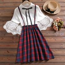 Dress Summer 2021 Green grid, red grid, 0889 green mosaic, white S,M,L,XL,2XL longuette Fake two pieces Short sleeve Sweet Polo collar lattice A-line skirt routine straps bow FQy7Xjf6fiJJJ college