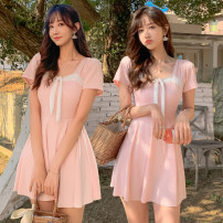 one piece  Baiya M [75-95 Jin], l [95-105 Jin], XL [105-120 Jin] Black, pink, blue and gray Skirt one piece With chest pad without steel support polyester fiber female Short sleeve Casual swimsuit other Lotus leaf edge
