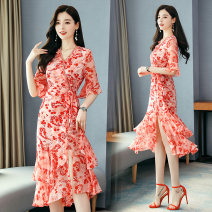 Dress Summer 2020 Picture color S M L XL 2XL 3XL Mid length dress singleton  elbow sleeve commute V-neck High waist Decor Socket Irregular skirt pagoda sleeve Others 25-29 years old Type H lady Lace up printing More than 95% Chiffon other Other 100%